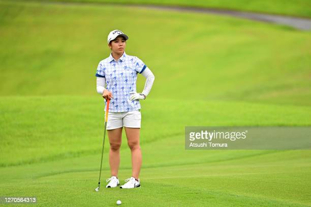 Mizuki Tanaka of Japan prepares for her second shot on the 6th hole during the first round of the GOLF5 Ladies Tournament at the GOLF5 Country...