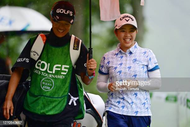 Mizuki Tanaka of Japan smiles during the first round of the GOLF5 Ladies Tournament at the GOLF5 Country Mizunami Course on September 4 2020 in...