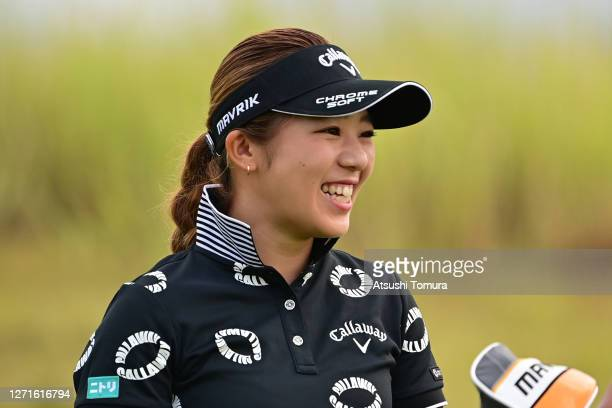 Mizuki Tanaka of Japan smiles on the 11th hole during the first round of the JLPGA Championship Konica Minolta Cup at the JFE Setonaikai Golf Club on...