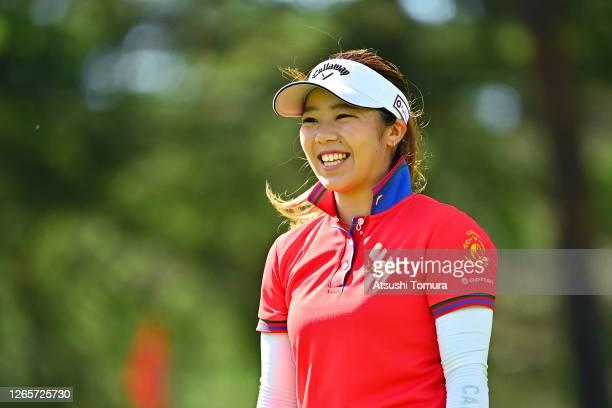 Mizuki Tanaka of Japan smiles on the 12th hole during a practice round ahead of the NEC Karuizawa 72 Golf Tournament at the Karuizawa 72 Golf Kita...