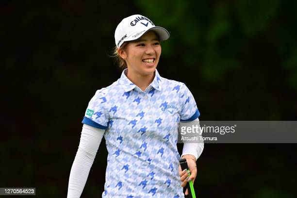 Mizuki Tanaka of Japan smiles on the 6th green during the first round of the GOLF5 Ladies Tournament at the GOLF5 Country Mizunami Course on...