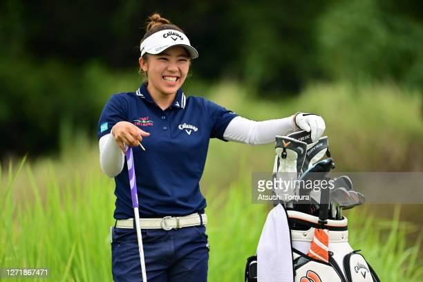 Mizuki Tanaka of Japan smiles on the 6th tee during the second round of the JLPGA Championship Konica Minolta Cup at the JFE Setonaikai Golf Club on...