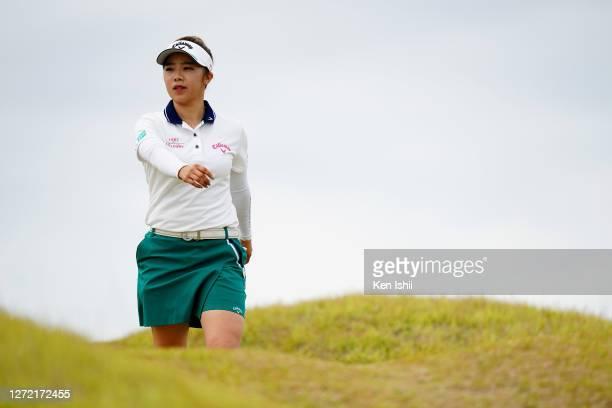 Mizuki Tanaka of Japan walks to the 3rd tee during the final round of the JLPGA Championship Konica Minolta Cup at the JFE Setonaikai Golf Club on...