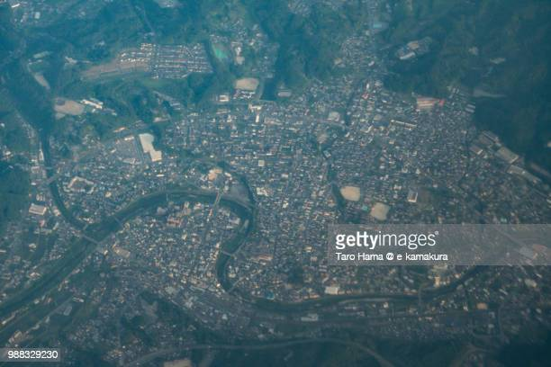 mizunami city in gifu prefecture in japan sunset time aerial view from airplane - 瑞浪市 ストックフォトと画像