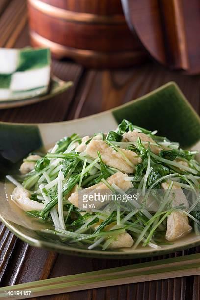 mizuna-to-oage-no-taitan - aburaage stock pictures, royalty-free photos & images