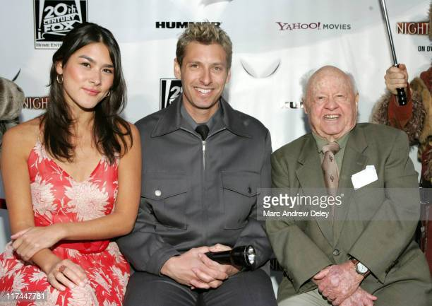 Mizuo Peck, a Night Guard and Mickey Rooney outside the American Museum of Natural History in New York prior to the send-off celebration for the...