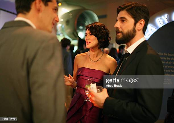 Mizuo Peck and Jeffrey Shagawat migle at the party following the premiere of Night At The Museum Battle Of The Smithsonian at the National Air and...