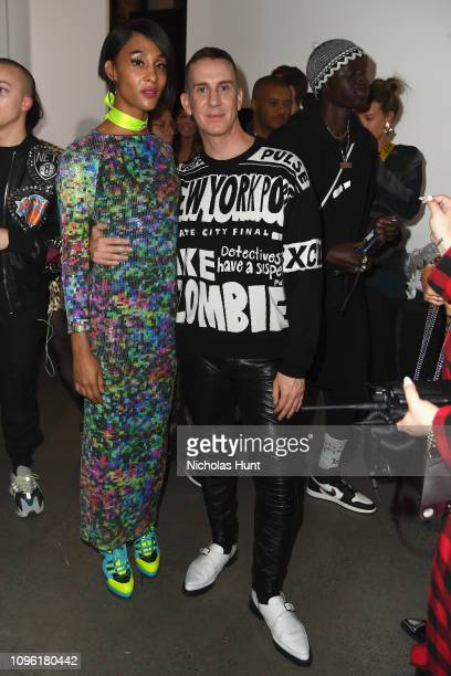 Mj Rodriguez and designer Jeremy Scott pose backstage for his fashion show during New York Fashion Week The Shows at Gallery I at Spring Studios on...