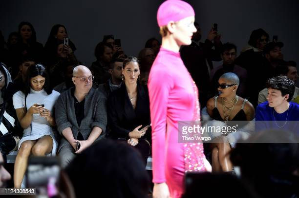 Mj Rodriguez and Mickey Boardman Carmen Carrera Slick Woods and Jacob Bixenman attend the Christian Cowan front row during New York Fashion Week The...