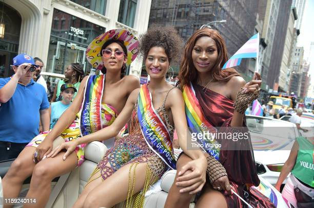 Rodriquez Indya Moore and Dominique Jackson attend Pride March WorldPride NYC 2019 on June 30 2019 in New York City