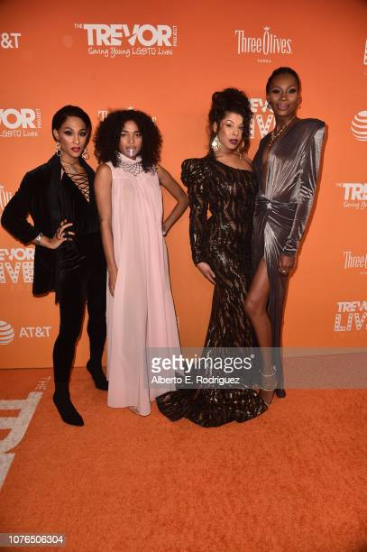 Mj Rodriguez Indya Moore Hailie Sahar and Dominique Jackson attend The Trevor Project's TrevorLIVE Gala at The Beverly Hilton Hotel on December 02...