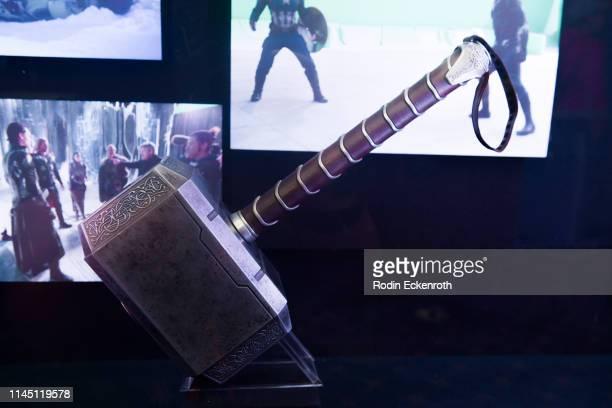 Mjölnir Thor's original hammer from the film franchise on display at the Marvel Studios's Avengers Endgame opening day marathon event at El Capitan...
