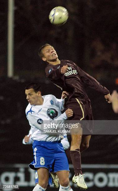Paris Saint Germain's Clement Chantome fights for the ball with Marek Matejovsky of Mlada Boleslav during their UEFA Group G football match in Mlada...