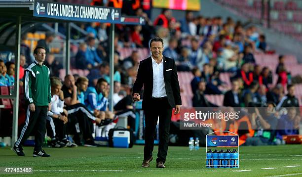 Mladen Dodic head coach of Serbia reacts during the UEFA European Under21 Group A match between Germany and Serbia at Letna Stadium on June 17 2015...