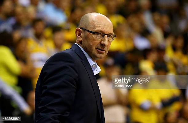 Mladen Drijencic head coach of Oldenburg reacts during the BEKO BBL Top Four final game between EWE Baskets Oldenburg and Brose Baskets Bamberg at...