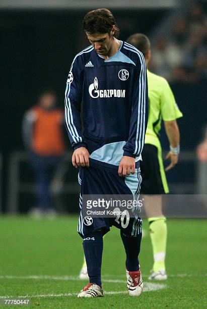 Mladen Kristajic of Schalke pulls down his shorts during the UEFA Champions League Group B match between Schalke and Chelsea at the Veltins Arena on...