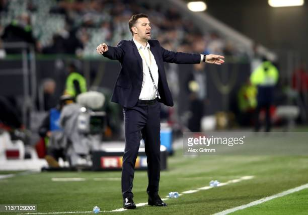 Mladen Krstajic Head Coach of Serbia reacts during the International Friendly match between Germany and Serbia at Volkswagen Arena on March 20 2019...