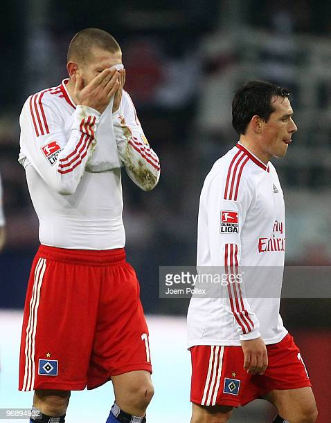 Mladen Petric and Piotr Trochowski of Hamburg look dejected after the Bundesliga match between Hamburger SV and Eintracht Frankfurt at HSH Nordbank...