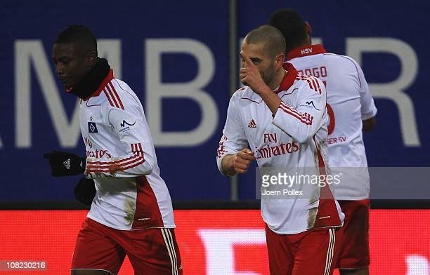 Mladen Petric of Hamburg celebrates after scoring his team's first goal during the Bundesliga match between Hamburger SV and Eintracht Frankfurt at...
