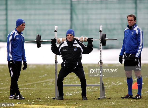 Mladen Petric of Hamburg lifts a barbell during the Hamburger SV training session at the HSH Nordbank Arena on January 12 2010 in Hamburg Germany