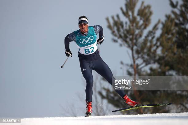 Mladen Plakalovic of Bosnia and Herzegovina competes during the CrossCountry Skiing Men's 15km Free at Alpensia CrossCountry Centre on February 16...