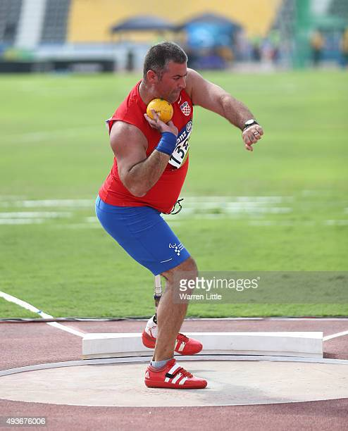 Mladen Tomic of Croatia competes in the Men's Shot Put F42 Final during the Morning Session on Day One of the IPC Athletics World Championships at...