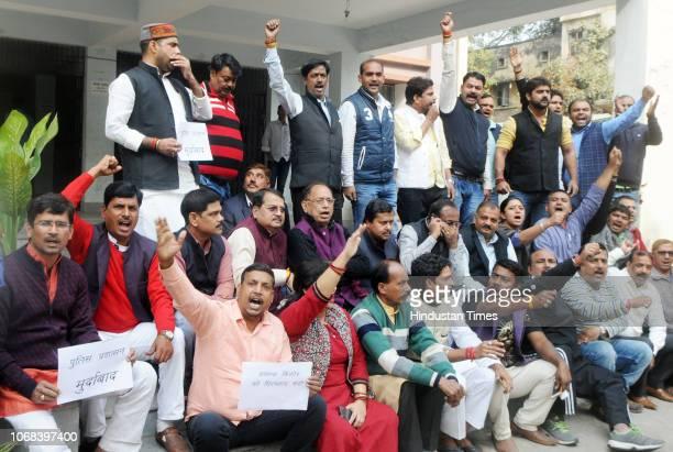 MLAs stage a sitin protest to demand the arrest of JDU VicePresident Prashant Kishore at Pirbohar Police Station campus on December 4 2018 in Patna...