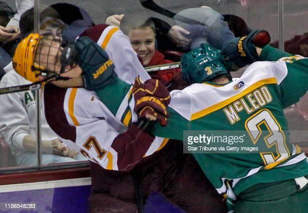Mlevison@startribune.com GENERAL INFORMATIONMinnesota Gophers vs. Alaska Anchorage hockey. IN THIS PHOTO: ]Minnesota's Nick Bjugstad, left and...