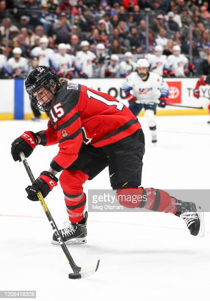Mélodie Daoust of the Canadian Women's National Team handles the puck in the third period against the U.S. Women's Hockey Team at Honda Center on...