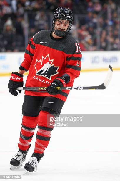 Mélodie Daoust of the Canadian Women's National Team warms up ahead of the game against the U.S. Women's Hockey Team at Honda Center on February 08,...