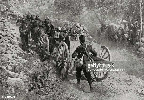 A 75 mm battery taken into position AngloFrench troops during the Gallipoli campaign Turkey World War I from L'Illustrazione Italiana Year XLII No 28...