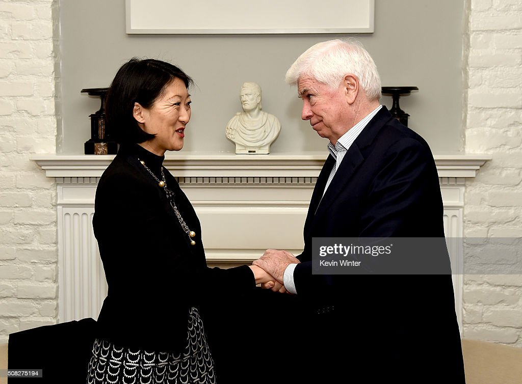 Mme Fleur Pellerin, French Minister of Culture and Communications (L) and former U.S. Senator Chris Dodd, Chairman and CEO of the Motion Picture Association of America appear at La Residence de France on February 3, 2016 in Beverly Hills, California.