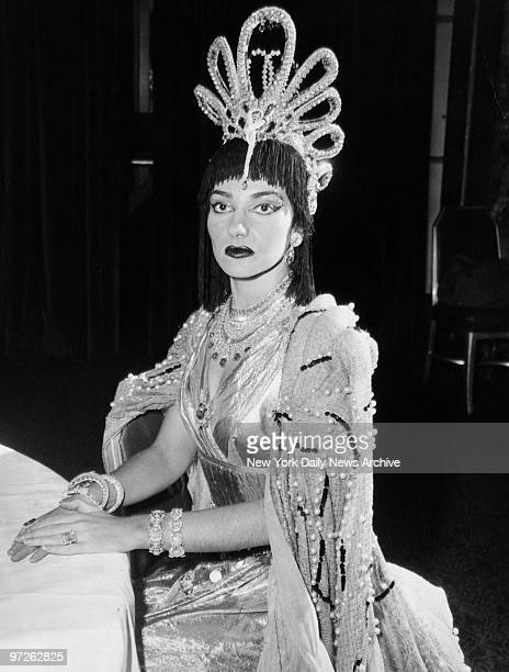 Mme Maria Meneghini Callas wearing a million dollars worth of jewels from Winston's portrays Princess Hatsheput of Egypt