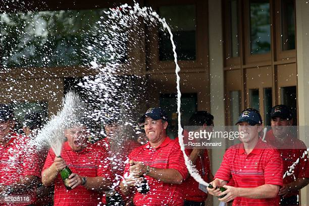 Mmebers of the USA team celebrate after the USA 16 1/2 - 11 1/2 victory on the final day of the 2008 Ryder Cup at Valhalla Golf Club on September 21,...