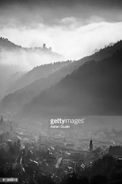 mümliswil with castle neu falkenstein - neu stock pictures, royalty-free photos & images