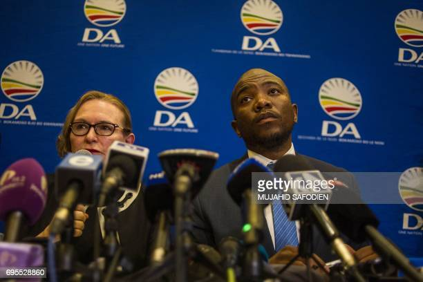 Mmusi Maimane the current leader of the Democratic Alliance party and the party's former leader Helen Zille give a press conference on June 13 2017...
