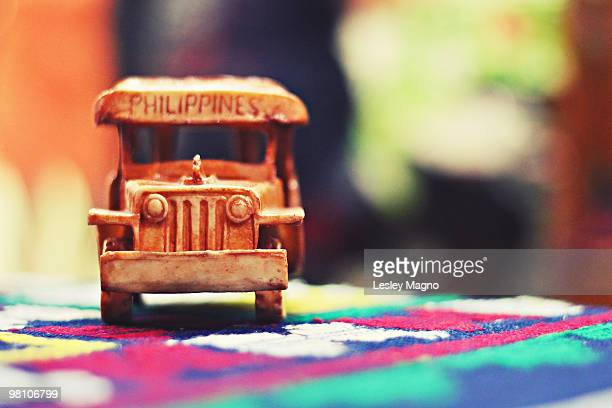 mniature wooden philippine jeepney - jeepney stock pictures, royalty-free photos & images