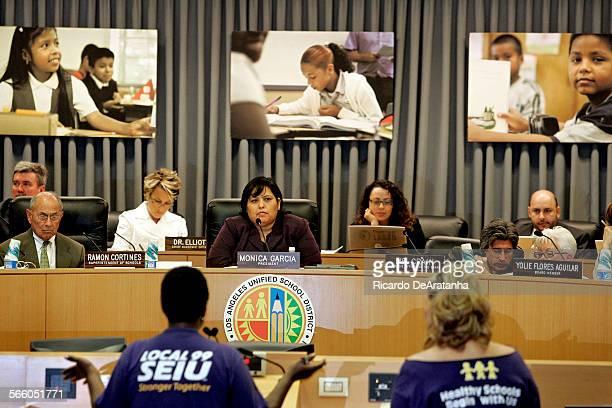 Mónica García CT LAUSD Board of Education president listening to a SEIU Local 99 representative June 23 2009 School cafeteria workers classroom aides...