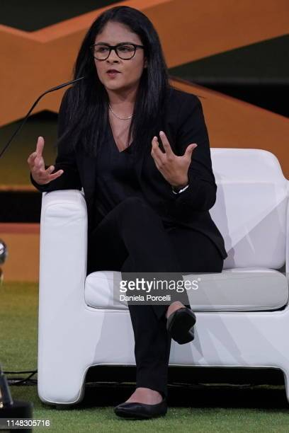 Mónica Vergara Rubio Head Coach of the Mexican U20 National Team discuss the topic during the FIFA Women's Football Convention at the Paris Expo...