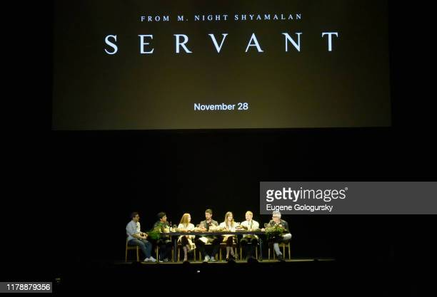MNight Shymalan Lauren Ambrose Toby Kebbell Nell Tiger Free Rupert Grint and Tony Basgallop speak at Servant Panel during New York Comic Con at...
