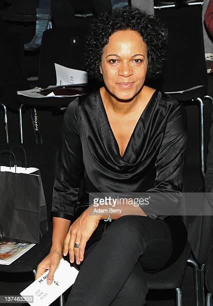 Mo Asumang sits in front row at the Marcel Ostertag Autumn/Winter 2012 fashion show during MercedesBenz Fashion Week Berlin at Brandenburg Gate on...
