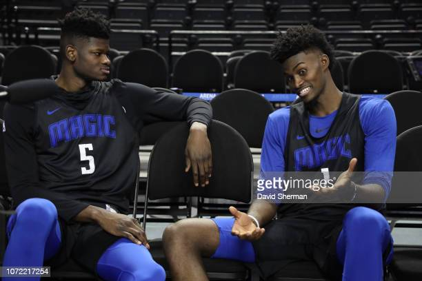 Mo Bamba and Jonathan Isaac of the Orlando Magic chats during practice and media availability as part of the NBA Mexico Games 2018 on December 12...