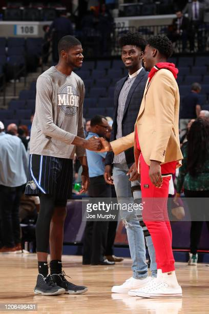 Mo Bamba and Jonathan Isaac of the Orlando Magic talk with Jaren Jackson Jr #13 of the Memphis Grizzlies after the game on March 10 2020 at...