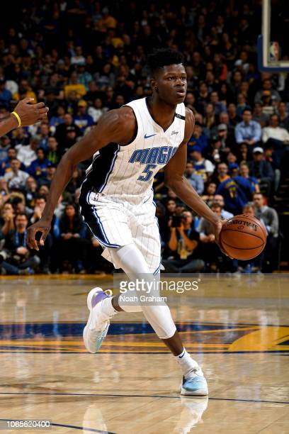 Mo Bamba of the Orlando Magic handles the ball against the Golden State Warriors on November 26 2018 at ORACLE Arena in Oakland California NOTE TO...