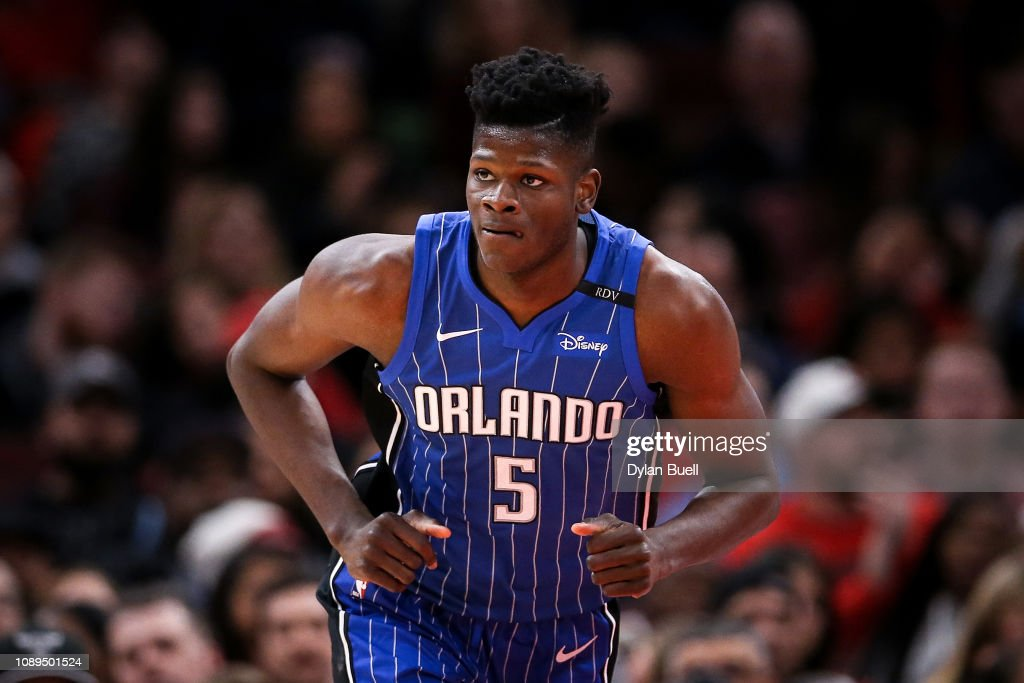 Mo Bamba of the Orlando Magic jogs across the court in the