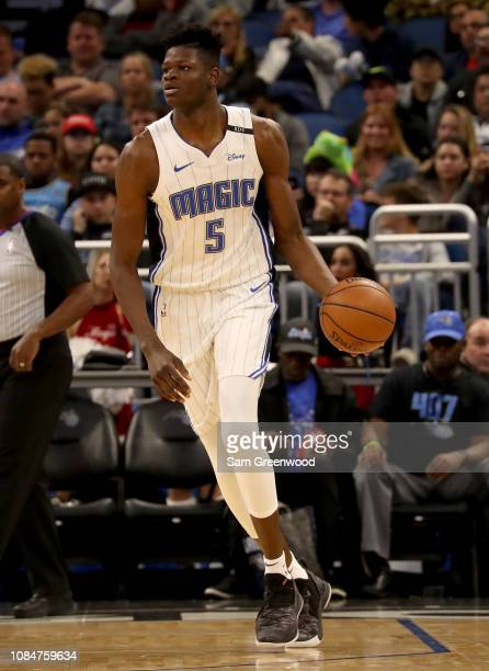 Mo Bamba of the Orlando Magic looks to make a pass during the game against the San Antonio Spurs at Amway Center on December 19 2018 in Orlando...