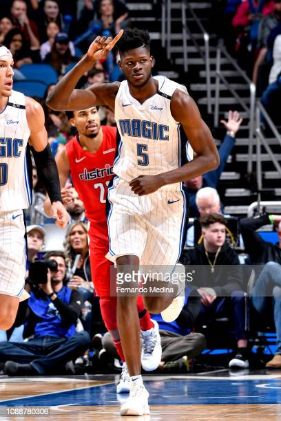 Mo Bamba of the Orlando Magic reacts against the Washington Wizards on January 25 2019 at Amway Center in Orlando Florida NOTE TO USER User expressly...