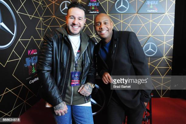 Mo' Bounce and Maxwell attend the Z100's Jingle Ball 2017 backstage on December 8 2017 in New York City