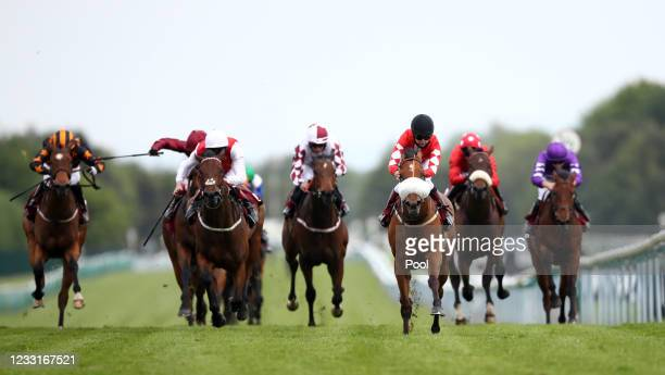 Mo Celita ridden by Laura Coughlan on their way to winning the Read Andrew Balding On Betway Insider Handicap at Haydock Park Racecourse on May 29,...
