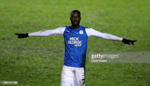 Mo Eisa of Peterborough United celebrates after scoring his second, Peterborough's third goal during the EFL Trophy match between Peterborough United...